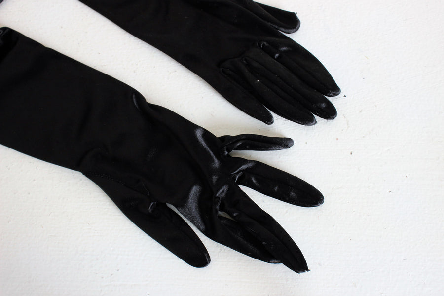 Vintage 1990s Black Satin Gloves