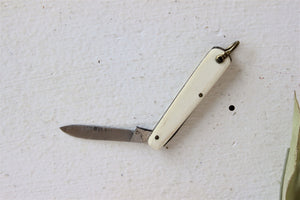 Vintage 1950s Pocketknife, Single Blade and Bone Handle