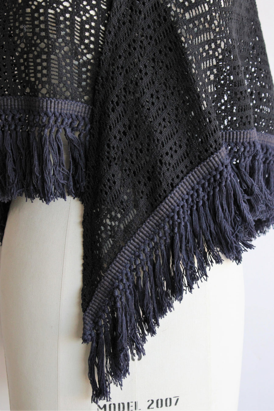 Vintage 1970s Black Woven Shawl with Navy Fringe