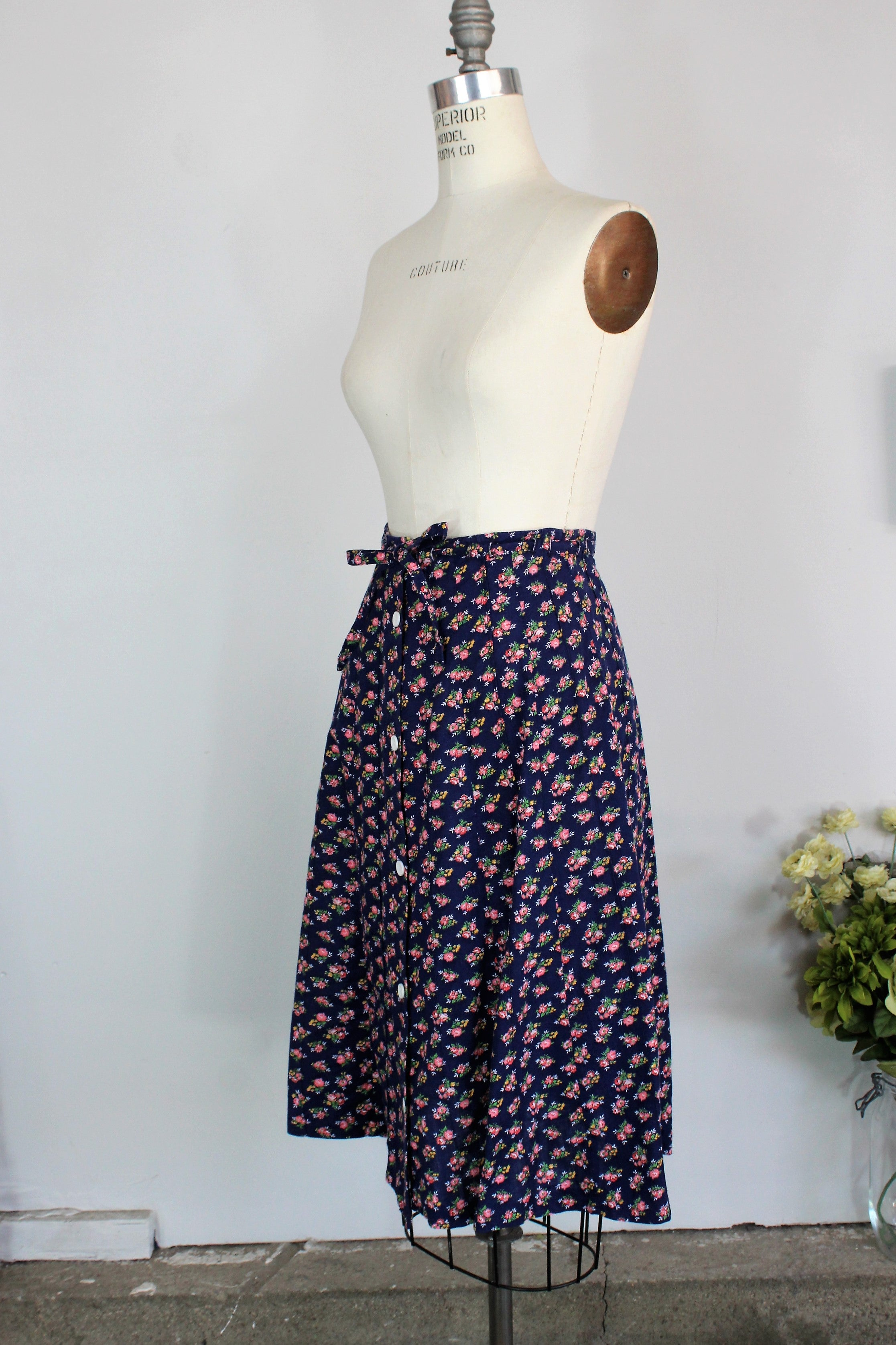 Vintage 1970s Blue Calico Skirt by Marsha Los Angeles