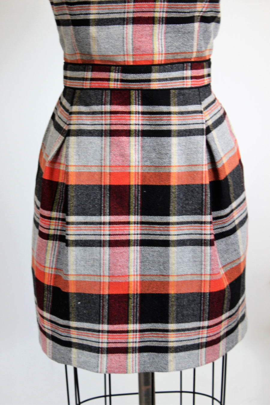 French Connection Plaid Strapless Dress with Pockets SZ 10