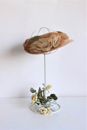 Vintage 1930s Wide Brimmed Hat With Silk Flowers