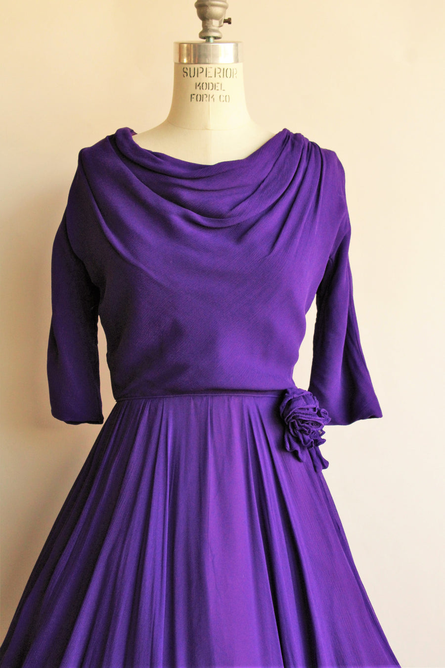 Vintage 1960s Purple Chiffon Fit And Flare Party Dress by Miss Elliette