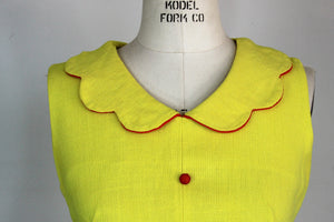Vintage 1960s Mod Dress in Yellow Barkcloth