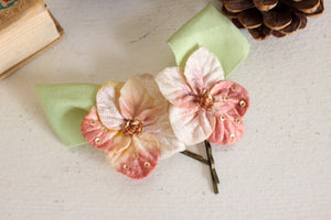 Flower Hairpins With Vintage Velvet Millinery Flowers, Set of Two