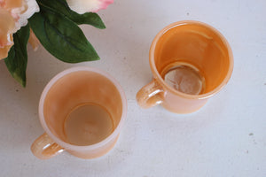 Vintage 1950s Fire King Peach Lusterware Coffee Mugs
