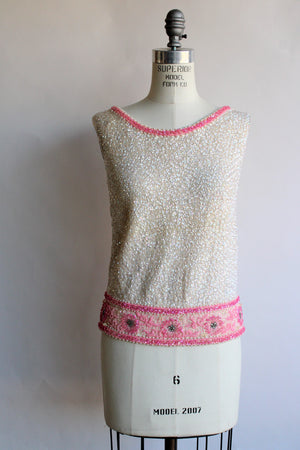 Vintage 1960s Pink and White Beaded Sweater Top