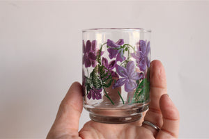Vintage 1980s Painted Violet Juice Glasses