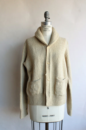 Vintage 1950s Ivory Wool Cardigan With Pockets