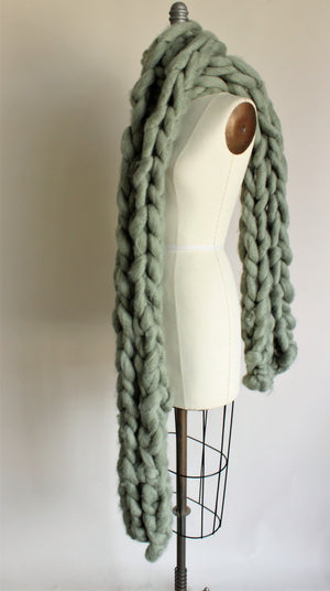 The Mist and Moss Scarf, Extra Big and Chunky Arm Knitted