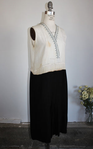 Vintage 1920s Day Dress / 20s Rayon And Crepe