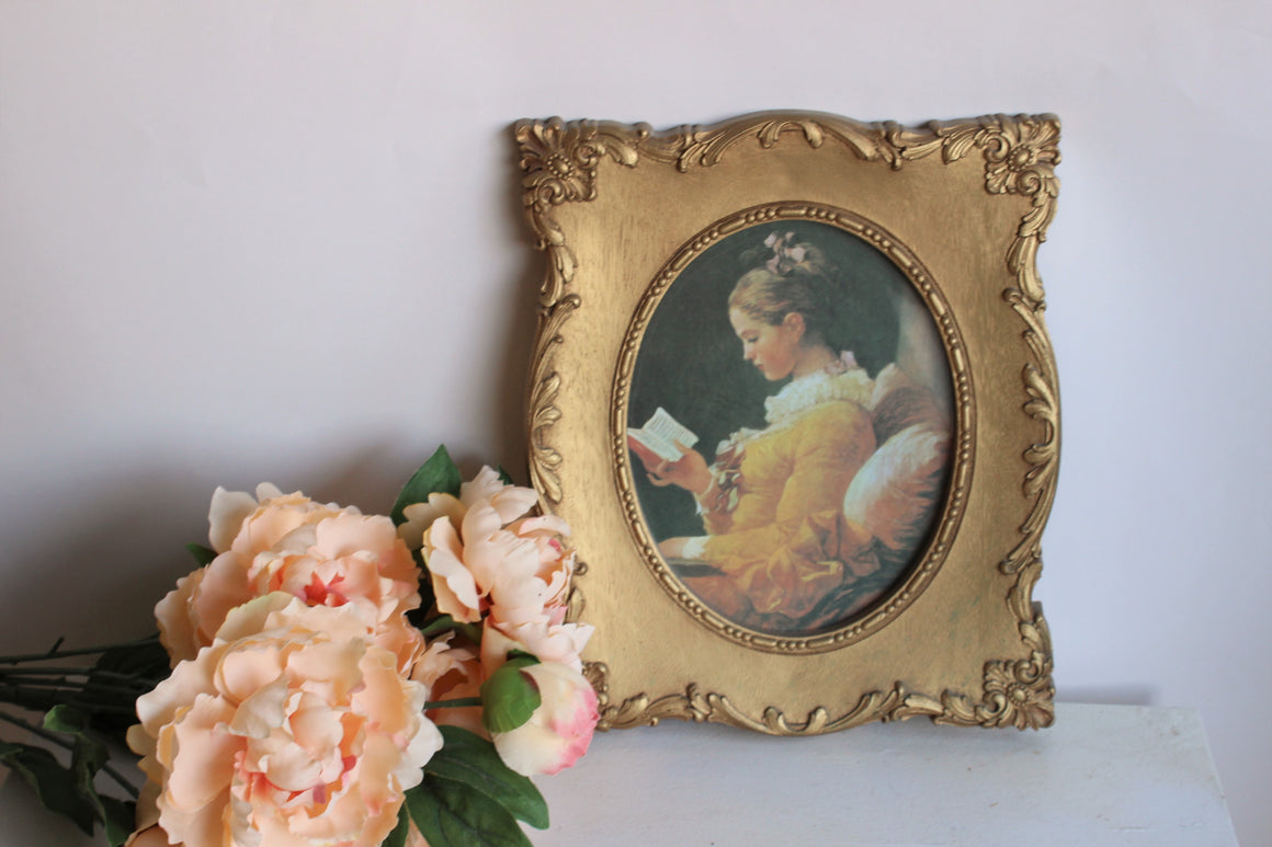 Vintage 1970s Framed Portrait in Gold Syroco Wood by Homco