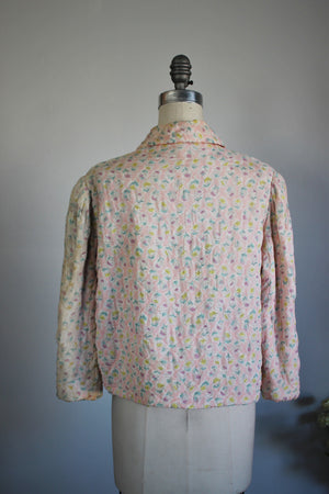 Vintage 1930s 1940s Pink Quilted Bed Jacket With Floral Print / Dolly Hart