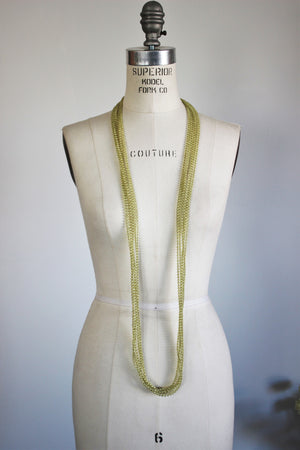 Vintage 1950s Extra Long Green Bead Necklace