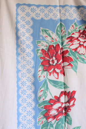 Vintage 1940s, 1950s Tablecloth with red flowers and blue borders