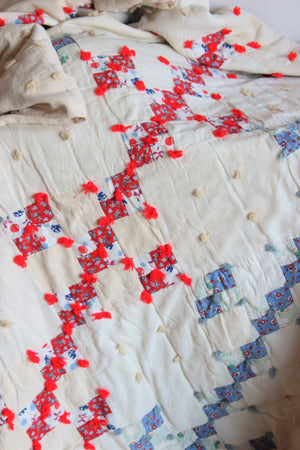 Vintage 1930s 1940s Feedsack Quilt, Twin Size
