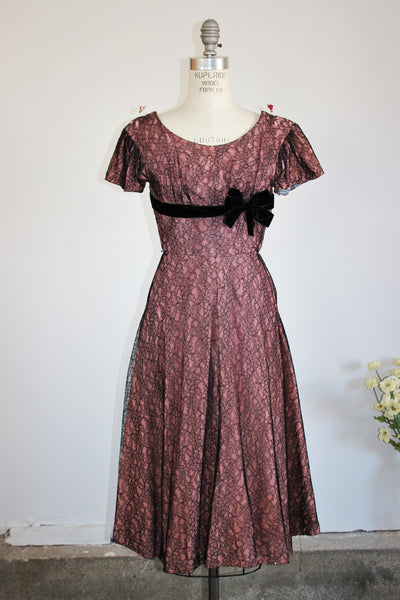 CLEARANCE: Vintage 1950s Black Lace Party Dress / 50s Lilli Diamond
