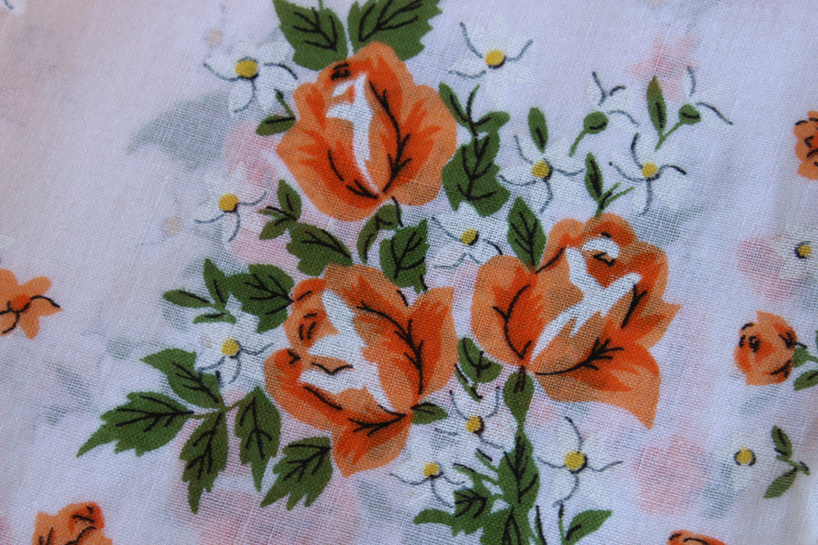 Vintage Orange Roses Print Hanky