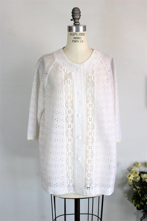 Vintage 1970s White Lace Blouse by Caroly of Miami