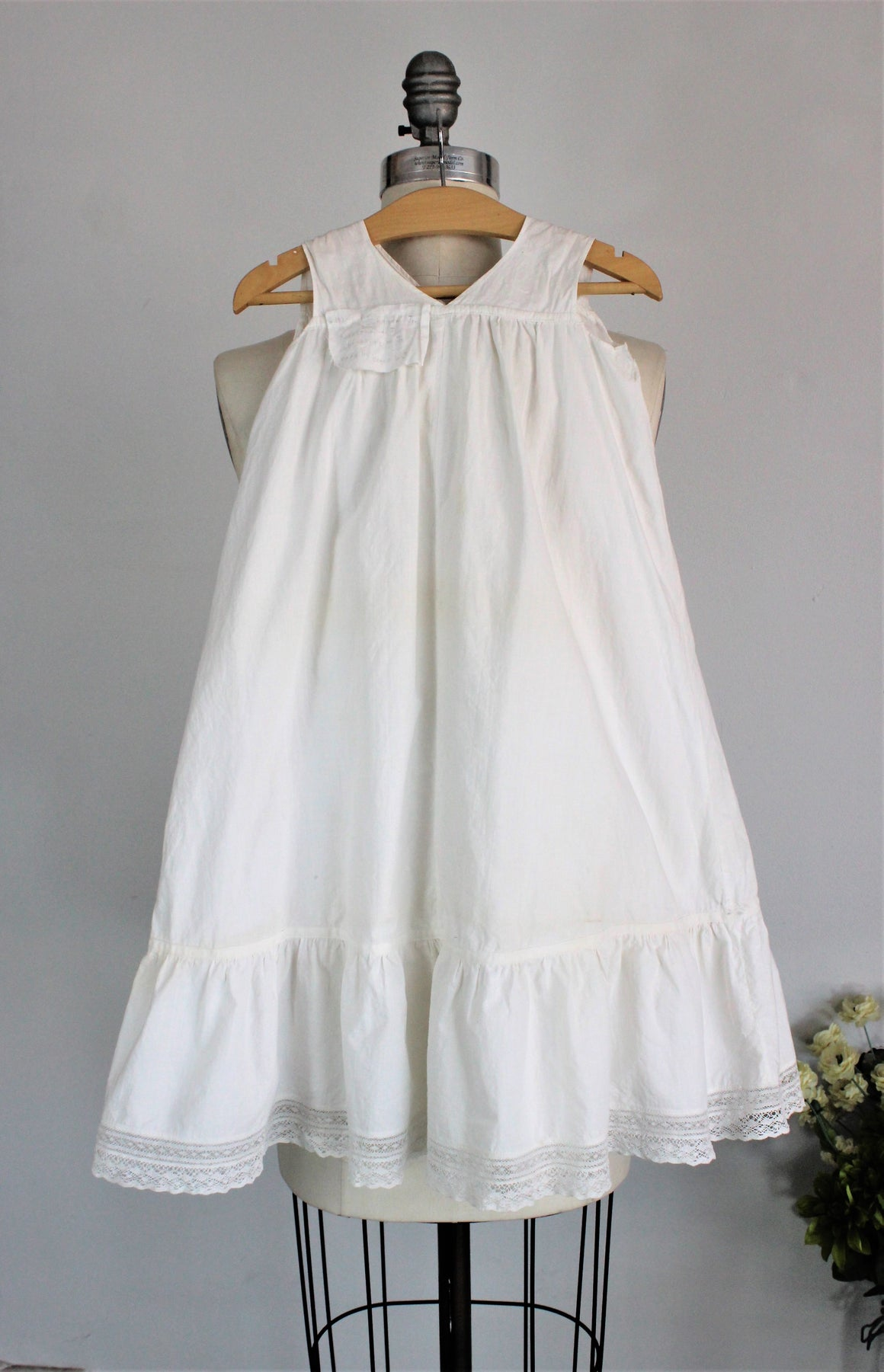 Vintage 1910s Babys White Cotton Christening Dress