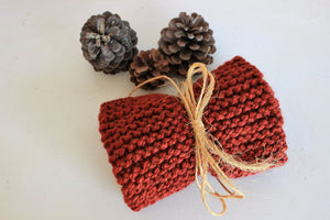 Dark Red Hand Knitted Infinity Scarf or Cowl