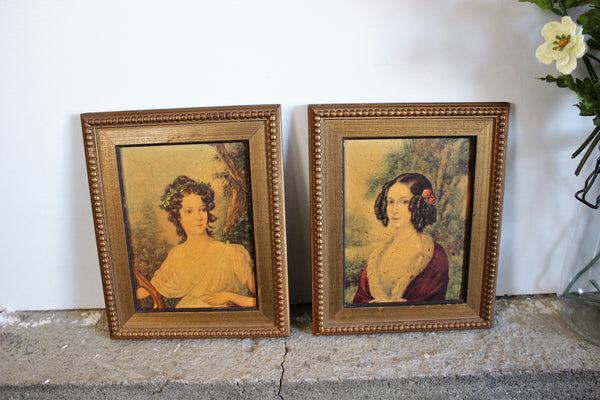 Vintage Mid Century Art Prints / Framed Romantic Regency Women Victorian Wall Art