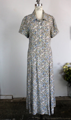 Vintage 1980s Does 1940s Floral Print Dress / Broomskirts by Lucia Lukken