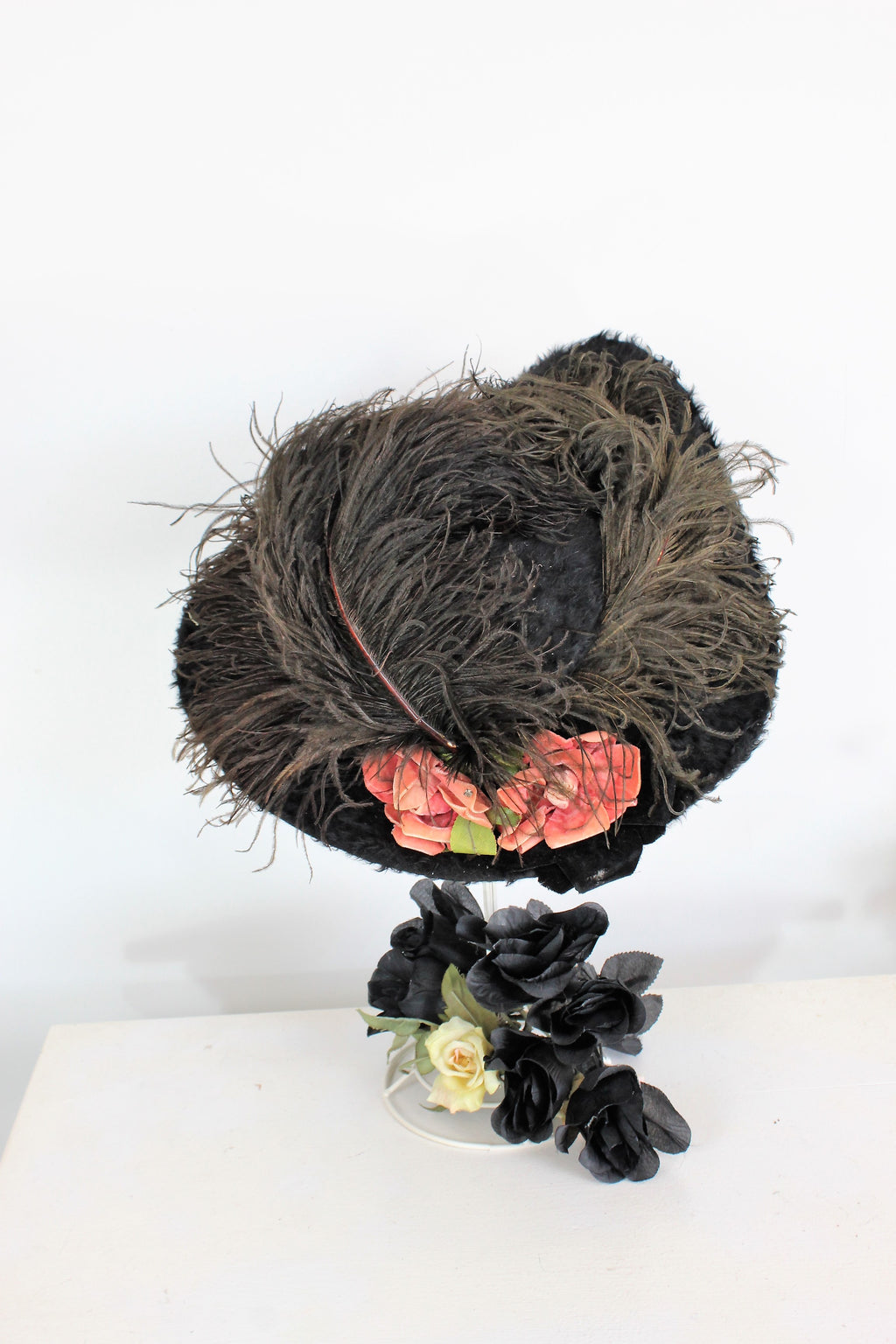 Vintage Antique 1890s - 1910s Black Fur Wide Brimmed Hat