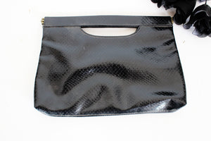 Vintage Patent Leather Purse in Stamped Vinyl Snake Skin