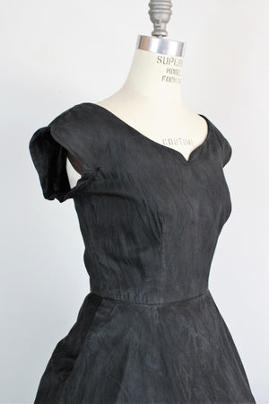 Vintage 1950s Black Fit And Flare Dress With Pockets by Maurice Rentner