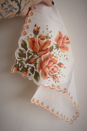 Vintage 1960s Orange Roses on White Cotton Handkerchief