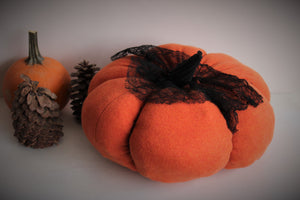 Large Orange Knit Pumpkin Pillow Pouf