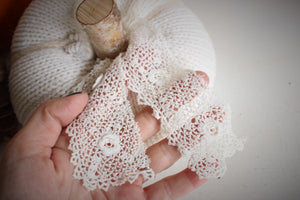 Creamy White Knit Pumpkin PIllow Pouf, Vintage Lace