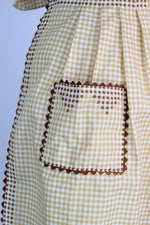 Vintage 1960s Gingham Apron With Pocket