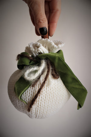 White Knit Pumpkin PIllow Pouf, Cinnamon Stick Stem