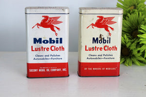 Vintage Mid Century Mobil Lustre Cloth Tin With Cloth and Lid