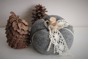 Pumpkin PIllow in Gray Embellished with Vintage Ivory Lace