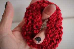 Red Hand Knit Hair Tie Scrunchie