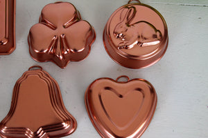 Vintage Copper Look Jelly Molds Set of Six