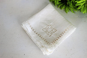 Vintage White Linen Napkins Set of Four