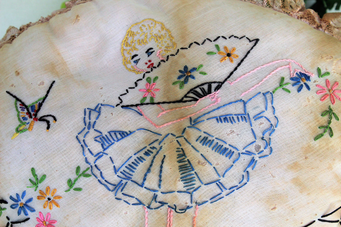 CLEARANCE: Vintage 1930s Pillow With Embroidered Ballerina
