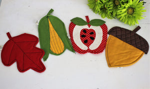 Vintage 1970s Hot Pad Set of Autumn Fruit And Nut