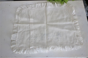 Vintage Pillow Case In White With Gray Embroidery