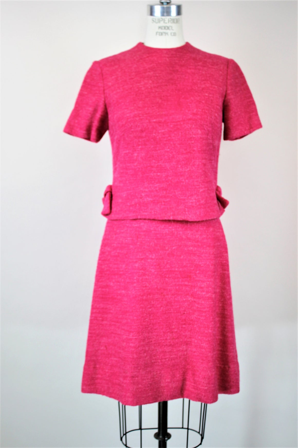 Vintage 1960s Pink Wool Tweed Dress With Top