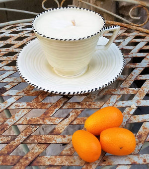 Handpoured Soy Wax Candle in a Vintage Crown Ducal Tea Cup with Saucer