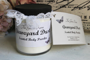 "Scented Handmade Talc Free Body Powder, ""Graveyard Dust"""