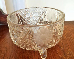 Vintage Cut Glass Serving Bowl