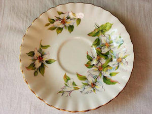 Vintage China Tea Saucer, White Trillium, Royal Albert