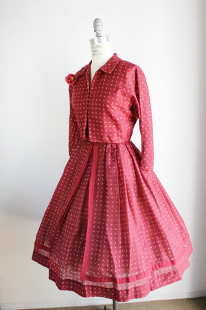 Vintage 1950s Dress With Jacket, Jonathan Logan Polkadot New Look