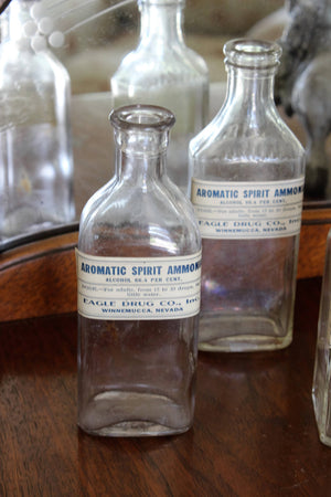 Antique 1800s Spirit Ammonia Glass Bottles